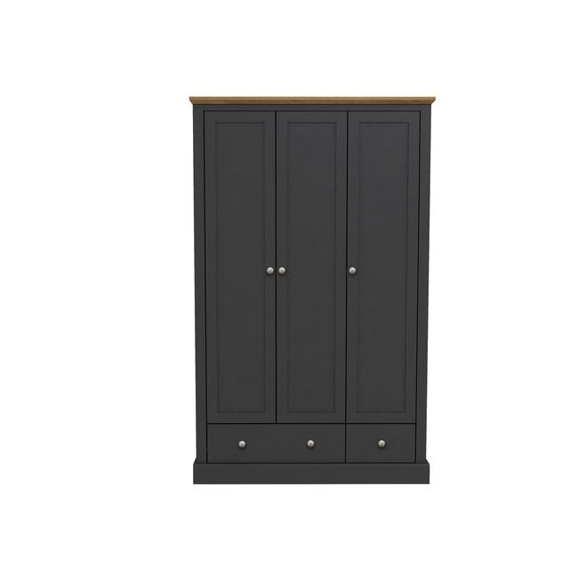 Devon Charcoal & Oak 3 Door Wardrobe