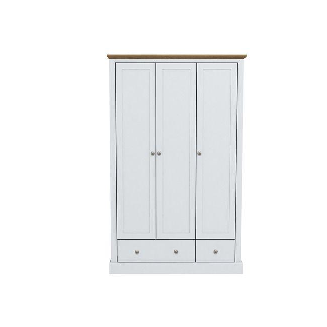 Devon White & Oak 3 Door Wardrobe