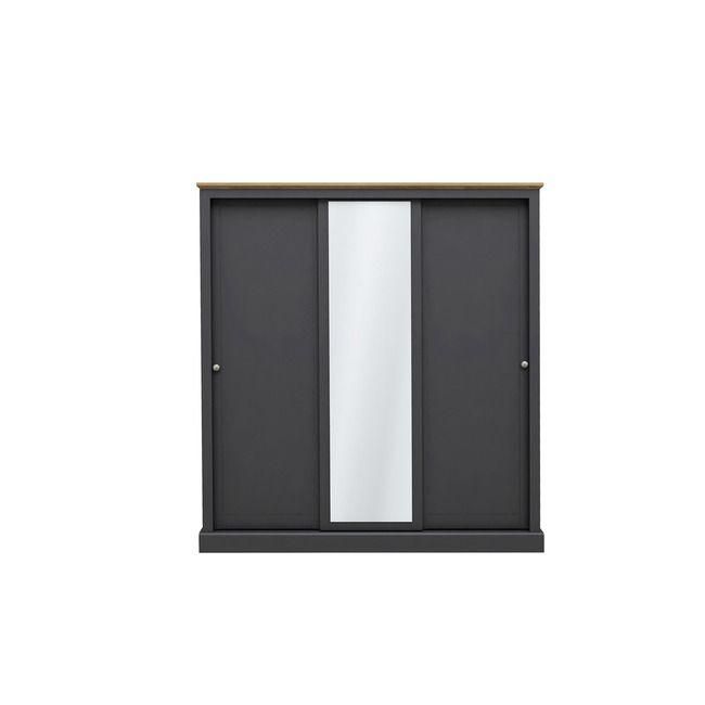 Devon Charcoal & Oak 3 Door Sliding Wardrobe