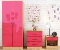 Dakota 3 Piece Bedroom Set - Pink Gloss & Oak