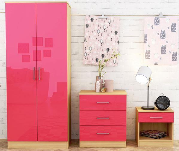 Dakota 3 Piece Bedroom Set - Pink Gloss & Oak