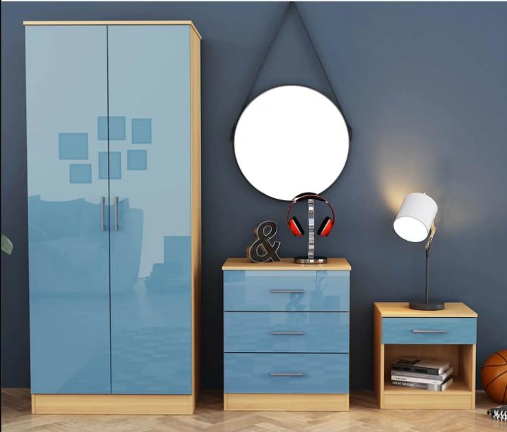 Dakota 3 Piece Bedroom Set - Blue Gloss & Oak