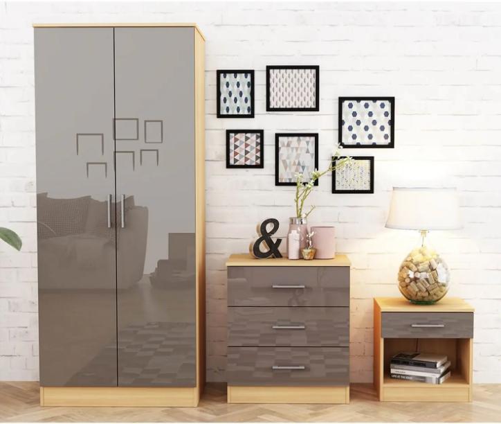 Dakota 3 Piece Bedroom Set - Taupe Grey Gloss & Oak