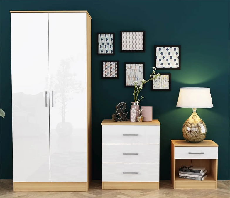 Dakota 3 Piece Bedroom Set - White Gloss & Oak