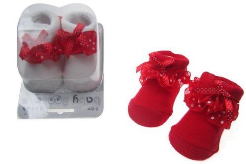 Boxed Bow Trim Socks 0-6 Months