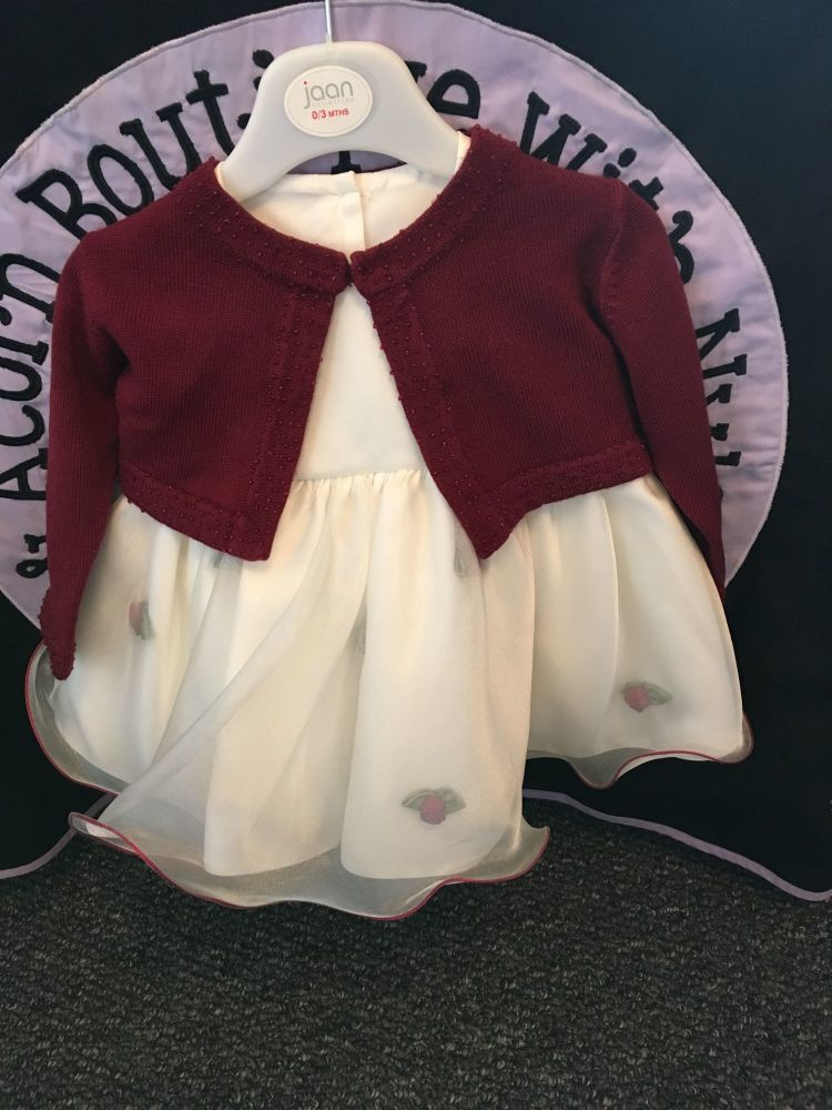 Rosebud Frill Dress with Bolero Cardigan