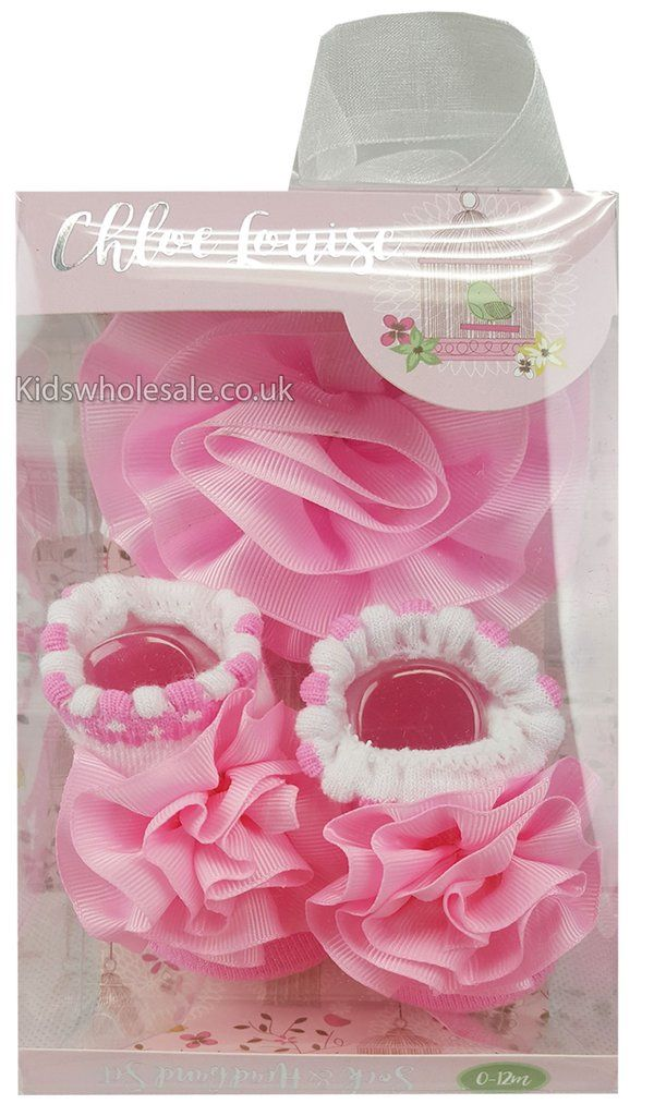 Chloe Louise Soak & Headband Set Pink/White