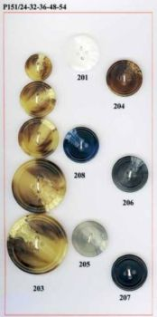 4-Hole Horn Buttons. Size 20mm & 23mm.