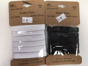 10mm Elastic Tape. 3 Metres Card
