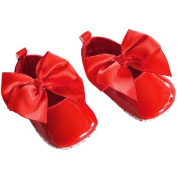 Soft Touch Infant Pram Shoes Red Bow.