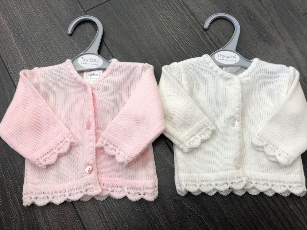 Tiny baby Fine Knit Cardigan by Tiny Chick. Pink or Cream. Size 3-5lbs