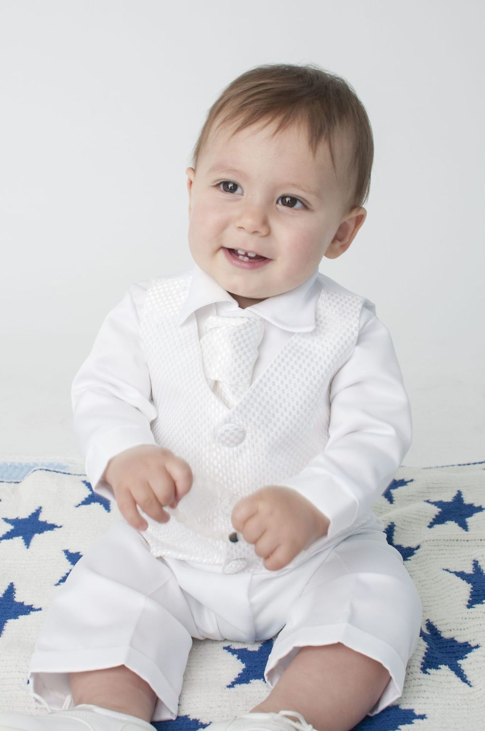 Vivaki Checked Christening Suit in White