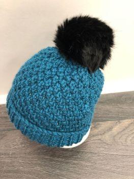 Chunky Knit Pom-Pom Hat. Age 1-2 Years.