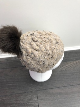 Aran Cable Pom-Pom Hat. Age 4-6 Years