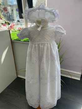 White Traditional Christening Gown with Matching Bonnet