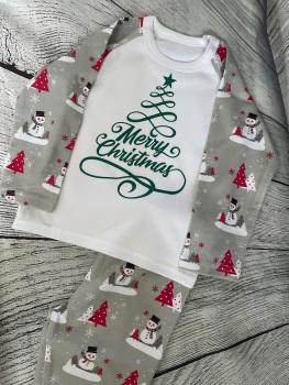 Grey Snowman Christmas Pyjamas.