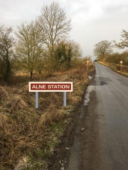 Alne Station Sign terracotta rectangle