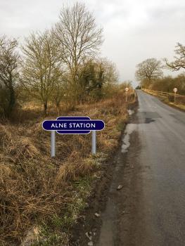 Alne Station Sign blue totem