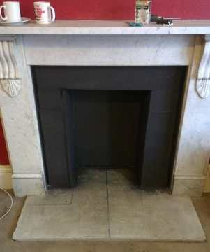 PZ fireplace boarded and hearth cast