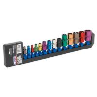 "TRX-Star Socket Set 14pc 1/4"", 3/8"" & 1/2""Sq Drive E4-E24 Multi-Coloured"