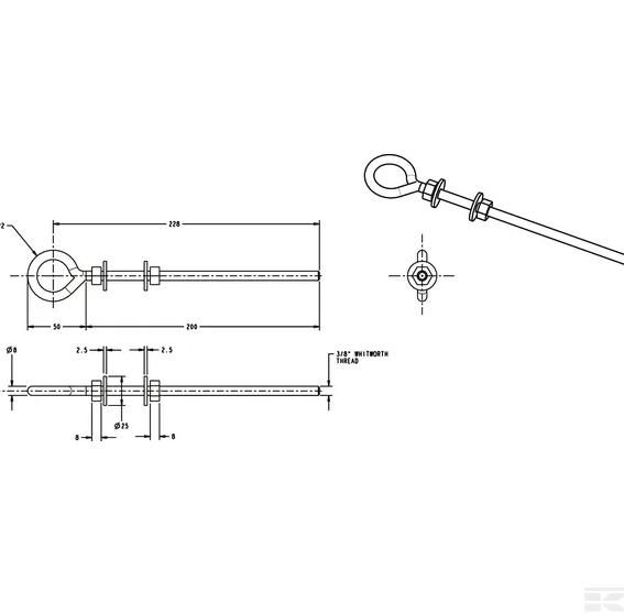 Welded eye bolt - 254x8mm