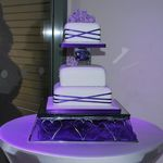 Three Tier Purple ribbon and Glass pillar