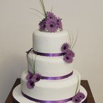 Purple Gerbera Three Tier