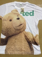 12 white ted sublimated print t shirts just 65p each