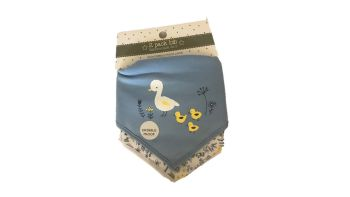 15 Ex Store Blue Baby Duck Pattern 2 Pack Bibs