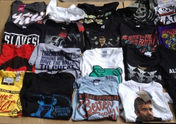 DEAL 150 assorted t shirts CHARACTER BOX SET FILMS ROCK BANDS JUST 65P EACH