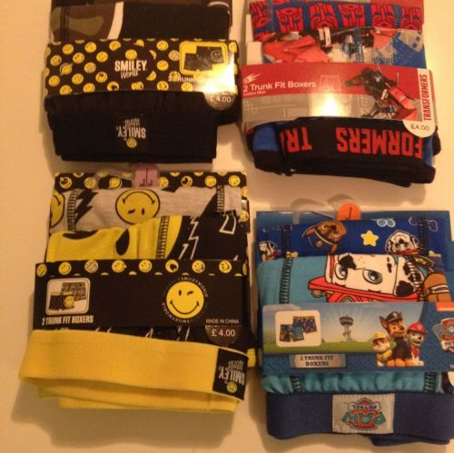 New Product 15 boys 2 back assorted character boxer shorts just £1.50 each