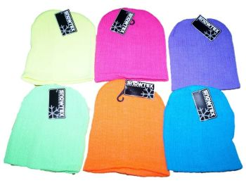 60 Children's Neon Beanie Hats 6 Colours