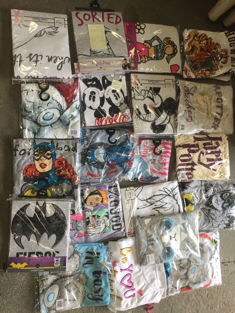 New Product 22 mixed ladies character pyjamas just £3.25 each