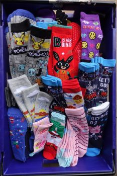 Sale 300 pairs of mixed boys and girls assorted sizes and assorted character AND non charactor  slight seconds socks just 30p each