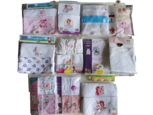 55 girl's assorted character 2 pack vests just £1.25 each