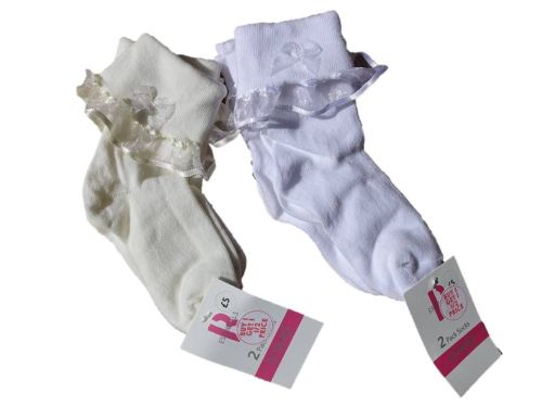 50 girls fancy cream and white baby and girls 2 pack socks just £1.25 each
