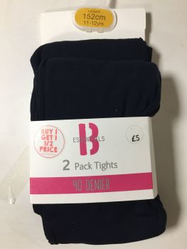 12 girl's 40 denier navy blue school tights all sizes ratio just £1.75 each