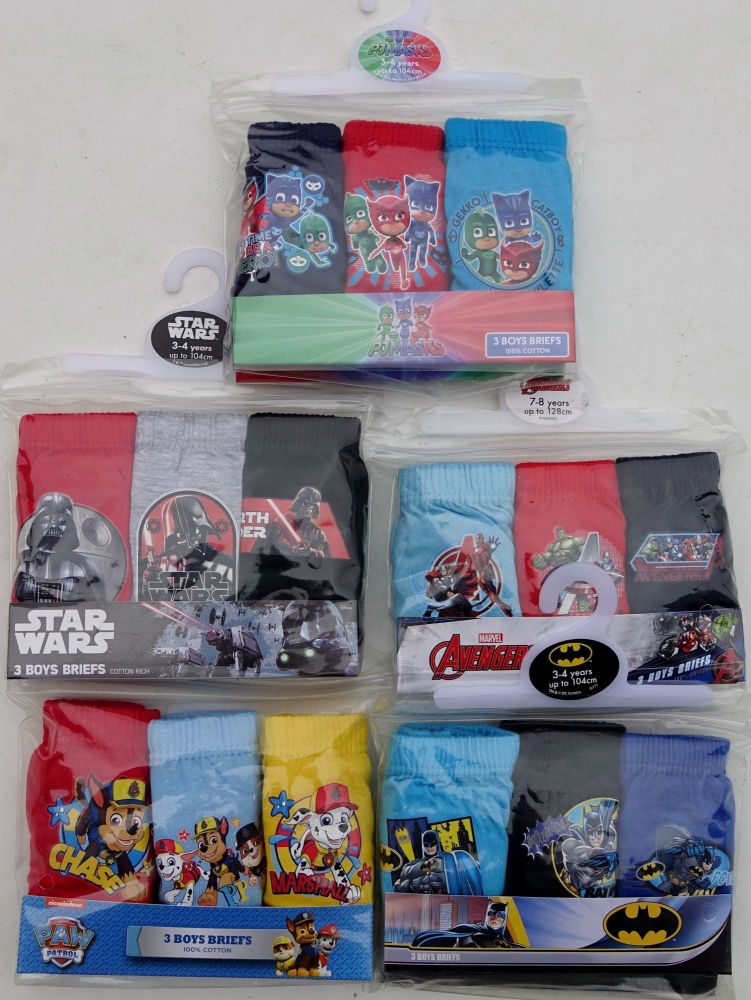 36 assorted boy's 3 pack briefs