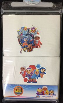18 boys official go jetters 2 pack vests £1.30