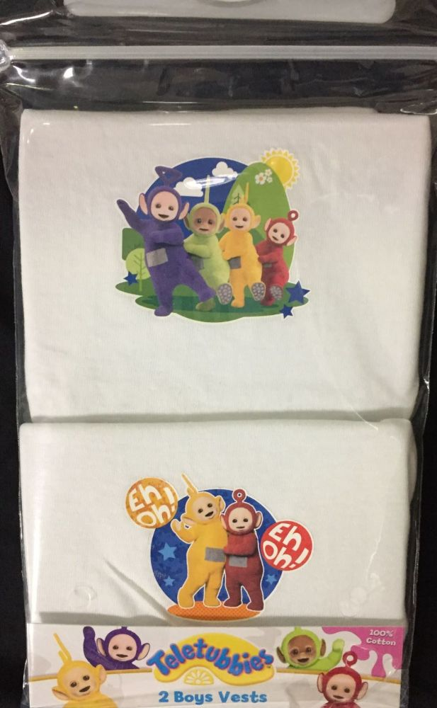 New Product 18 boys teletubbies  2 pack vests just £1.30 each