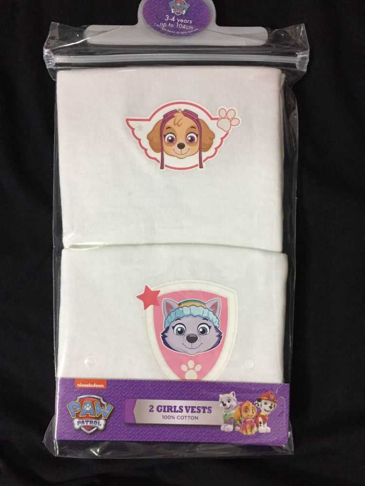 New Product 18 girls paw patrol 2 pack vests just £1.30 each