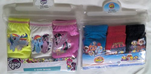 90 Girls and Boys My Little Pony and Go Jetters 3 pack brief