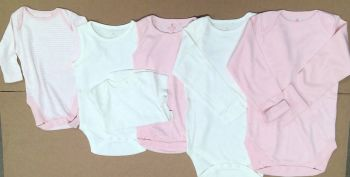 20 Assorted Ex Store  mainly Long Sleeved Bodysuits/Bodyvests Plain