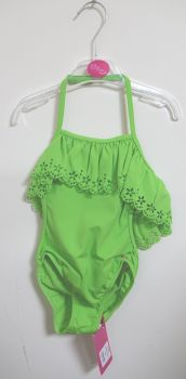 14 Girl's Apple Green Lulu Rio Cut Out Swim Suits