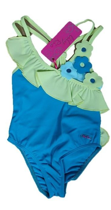 10 Girl's Teal Apple Lulu Rio Swim Suits