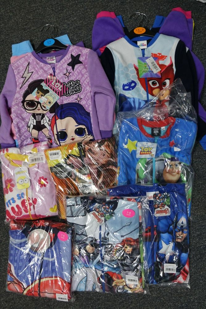 New Product 17 boys and girls fleece character onesies just £2.50 each