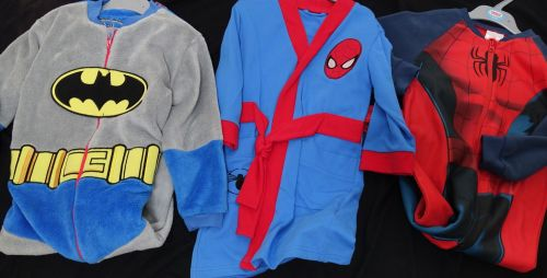 New Product 8 mixed fleece onesies and robes spiderman and batman just £3.0