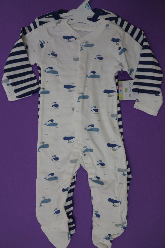 New Product 9 little wonders baby 2 piece romper sleepsuit  just £2.65 each