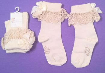 12 Baby, Toddler, Girls, Fancy Ivory Lace Top and Ribbon Socks