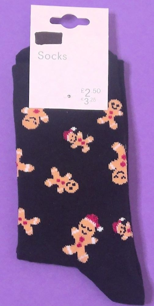 15 Ladies Christmas Gingerbread Sock One Size
